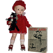 "1930's 14"" Effanbee Patsy Ann Doll A/O with Patsy Ann's Fun Time Book and Kitty"
