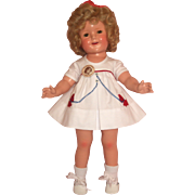 "18"" Ideal Shirley Temple Doll in White Scotty Dress – c1934 - 1935"