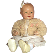 """20"""" E.I. Horsman Baby Dimples – c1928 - Redressed"""