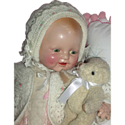 """1928 E.I. Horsman 19"""" Baby Dimples w/Factory Outfit & Extras!"""