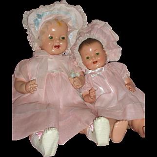"""Darling pair of Effanbee – Lovums Baby Dolls 17"""" & 22"""" c1930's"""