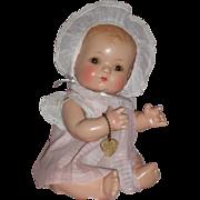 """1930's 10"""" Effanbee Baby Patsykin w/Bent Knees in Original Dress & Bonnet"""