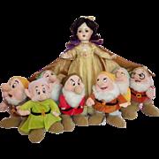 "Large 21"" Madame Alexander Snow White Doll with Vintage 7 Dwarfs"