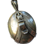 Victorian Silver Antique Belt Buckle Locket for Book Chain Necklace