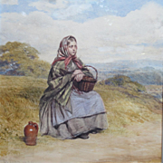 Wonderful Antique 1859 Watercolor Portrait Painting of Young Girl By Listed Artist William Percy