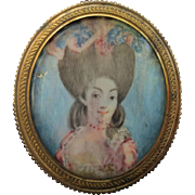 18th Century Miniature Portrait Painting of a Young Court Lady