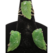 Silver Chinese Jade 1920-40's Carved Immortal Scholar Portrait Ring & Earring Set