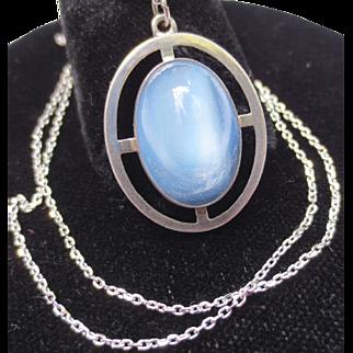 Mid Century Sterling Silver Vintage Moonstone Pendant
