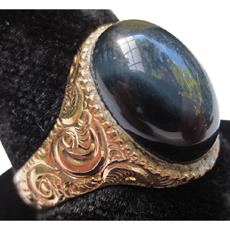 Victorian 10K Rose Gold Tigers Eye Cabochon Ring