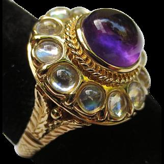 Regal 14k Gold Moonstone & Amethyst Halo Cocktail Ring