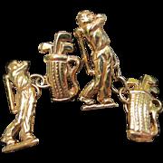 Wonderful 9k Gold Golfer Vintage Cufflinks Golf Clubs