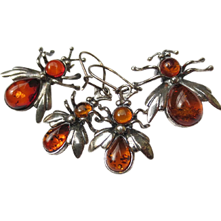 Amber Sterling Silver Insect Set Pendant, Earrings & Brooch