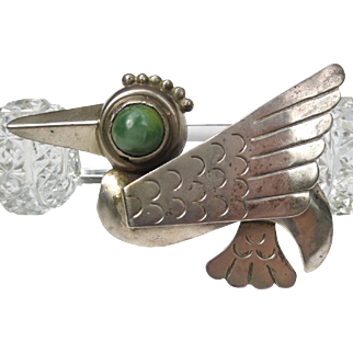 Vintage 1930-40's Mexican Silver Hummingbird Brooch
