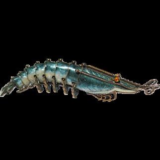 Fantastic Vintage Chinese Silver Enamel Shrimp Pendant