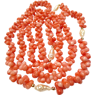 Lovely Angel Skin Coral & Pearl Beaded Necklace