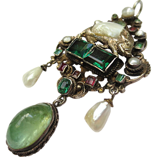 Spectacular Austro Hungarian Silver Emerald, Aquamarine, Garnet & Pearl Boar Pig Pendant