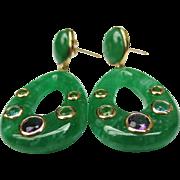 Fine Jade 14k Gold Drop Earrings with Gems