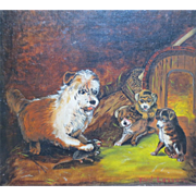 """Antique Victorian Era Terrier Dog & Puppies Oil Painting titled """"First Lesson"""""""