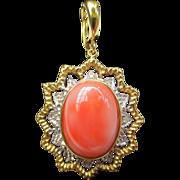 Vintage 14k Gold Coral & Diamond Star Pendant