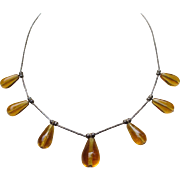 Sweet Amber Drop Sterling Silver Vintage Necklace