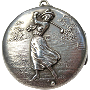 Unique Art Nouveau Lady Golfer Sterling Silver Antique Locket