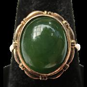 Beautiful Vintage Jade Cabochon 14k Rose Gold Ring