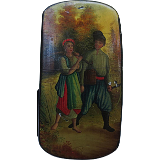 Antique Russian Figural Landscape Painting Lacquer Box