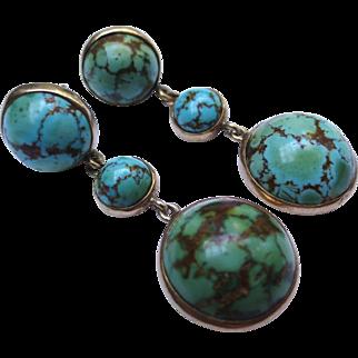 Gorgeous Turquoise Cabochon Stones Edwardian 14k Gold Drop Earrings