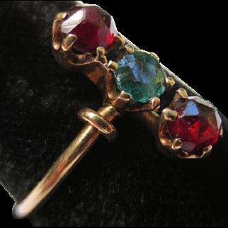 Victorian 14k Gold Emerald & Rose Cut Bohemian Garnet Ring
