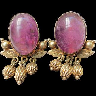 Sweet Amethyst Sterling Silver Gold Vermeil Vintage Earrings