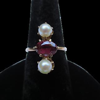 14k Rose Gold Victorian Garnet & Pearl Ring
