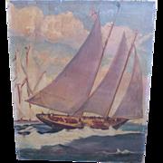 Antique Oil Painting Racing Schooner America 1851 Sailing Ship Maritime