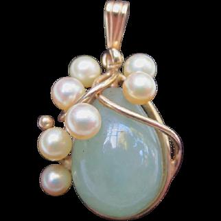 Ming's 14k Gold Pearl & Jade Pendant