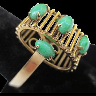 Unusual Modernist 14k Gold Jadeite Vintage Jade Ring