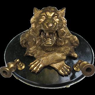 Fantastic Bronze & Marble Vintage Tiger Inkwell Pen Set