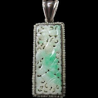Wonderful Antique Silver Carved Chinese Jadeite Jade Pendant