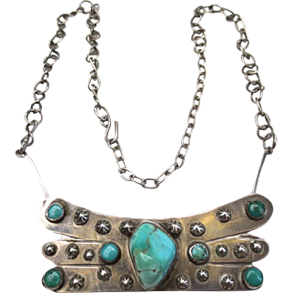 Unique Vintage Sterling Silver Turquoise Southwestern Pendant Necklace