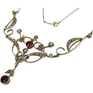 Beautiful Edwardian 14k Gold Antique Ruby & Pearl Lavalier Necklace