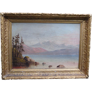 Antique Oil Painting Victorian Landscape Lake & Mountains