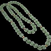 Fine 14k Gold Apple Jade Bead Necklace Strand