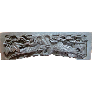 Antique Chinese Carved Phoenix Bird Wall Plaque