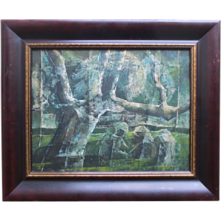 "Unique Mid Century 1960 Oil Painting by Emily Anderson titled ""Enter Three Witches"""