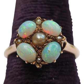 Victorian Fire Opal & Natural Pearl 14k Rose Gold Antique Ring