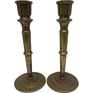 Arts and Crafts Mission Antique Bronze Candlesticks