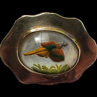 Victorian 14k Gold Essex Rock Crystal Painting Pheasant Bird Brooch