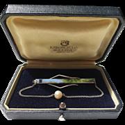 K. Mikimoto Pearl Sterling Silver Vintage Tie Clip Clasp Brooch (Original Box)