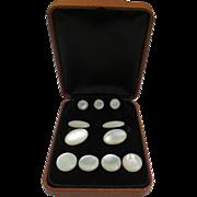 Antique Edwardian Mother of Pearl Cufflink Tuxedo Button Set (Original Box)