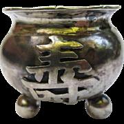 Antique Luen Wo Chinese Silver Censer Open Master Salt Cellar