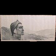 Antique Dante Alighieri Portrait Painting by Franz Paczka Ferencz Italy 1800's