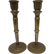 Arts and Crafts Bronze Antique Mission Candlesticks